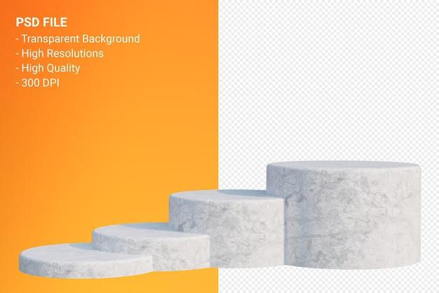 Podium en marbre blanc minimal sur transparent pour la présentation des produits cosmétiques