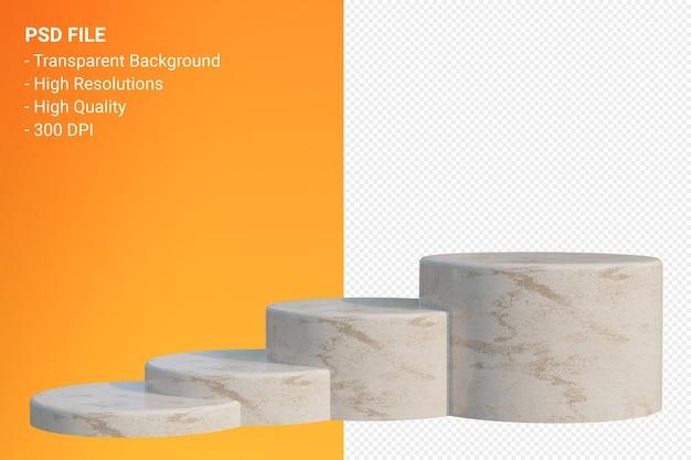 Podium en marbre minimal isolé pour la présentation des produits cosmétiques