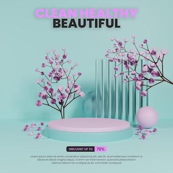 Podium naturel coloré avec verre et roses