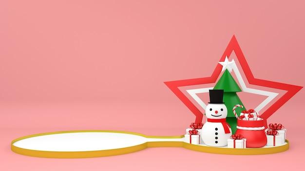 Podium de noël avec piédestal de bonhomme de neige et cadeaux