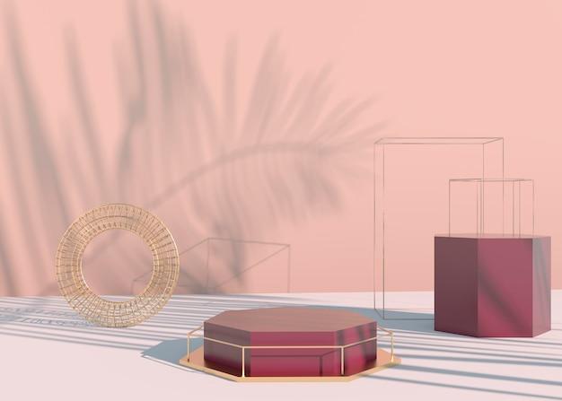 Podium avec ombres de feuilles de palmier pour la présentation de produits cosmétiques. la toile de fond du piédestal de vitrine vide se moque. rendu 3d.