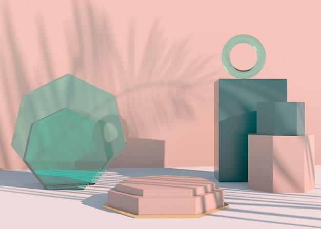 Podium avec ombres de feuilles de palmier pour la présentation de produits cosmétiques.