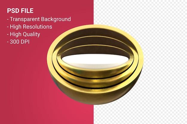 Podium d'or minimal isolé pour la présentation de produits cosmétiques