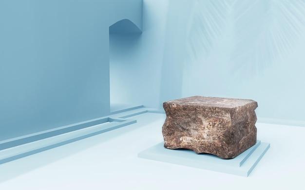 Podium en pierre sur salle bleue pour le rendu 3d de placement de produit