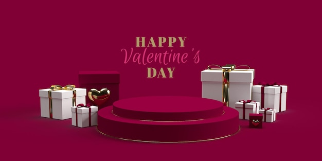 Podium pour le placement de produit pour la saint valentin avec décorations