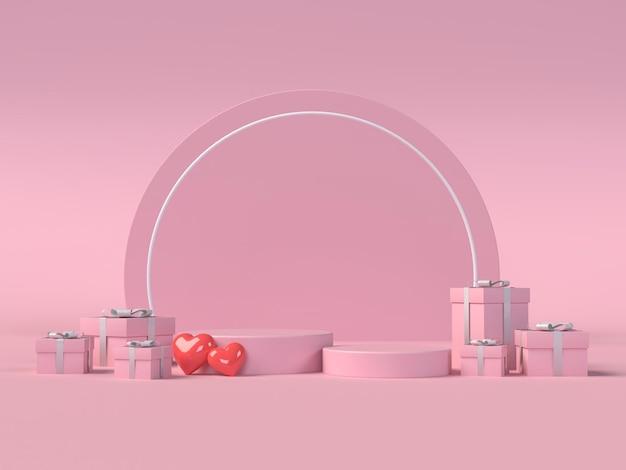 Podium pour le placement de produit pour la saint valentin