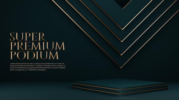 Podium premium de luxe avec élément géométrique en or