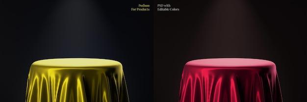 Podium de produit circulaire élégant de luxe avec modèle de couleur modifiable en tissu satin or