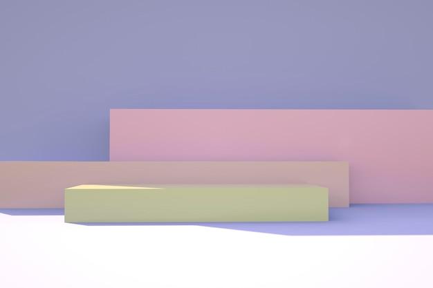 Podium de produit sur fond pastel concept de géométrie minimale abstraite