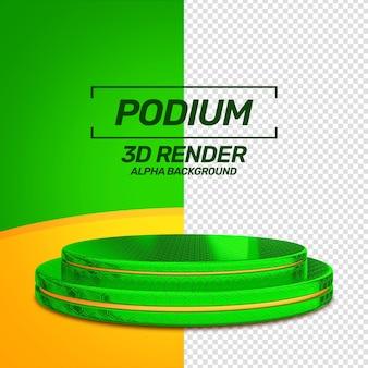 Podium de promotion vert rendu 3d isolé