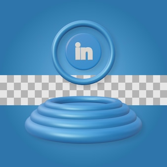 Podium avec rendu 3d du logo linkedin