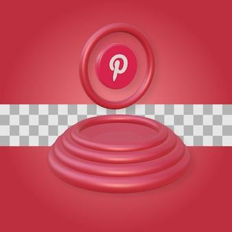 Podium avec rendu 3d du logo pinterest