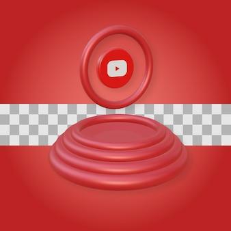 Podium avec rendu 3d du logo youtube