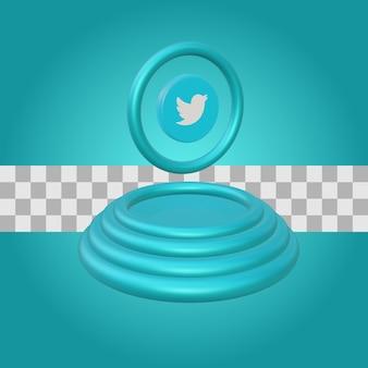Podium avec rendu 3d de logo twitter