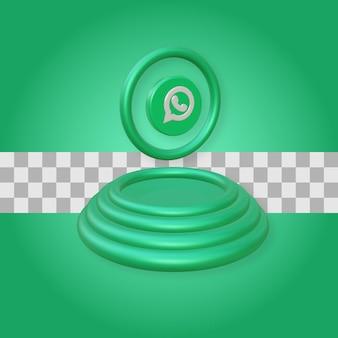 Podium avec rendu 3d de logo whatsapp