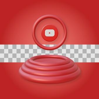 Podium avec rendu du logo youtube 3