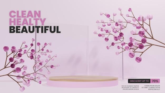 Podium rose avec cerisier en fleurs