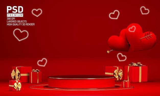 Podium à la saint-valentin avec des décorations
