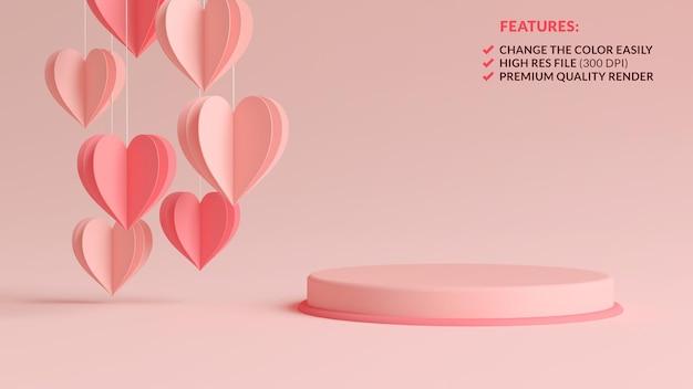 Podium de la saint-valentin rose pastel avec des coeurs de papier suspendus dans le rendu 3d