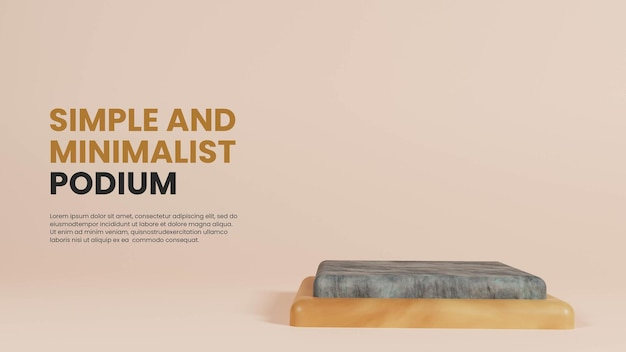 Podium simple pierre et bois