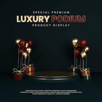 Podium special premium luxe avec ballon et coffret cadeau