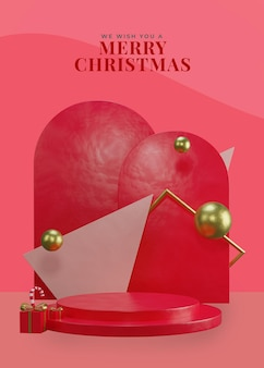 Podium de thème de noël rouge 3d avec boîte-cadeau