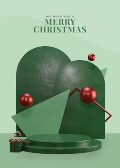 Podium de thème de noël vert 3d avec boîte-cadeau