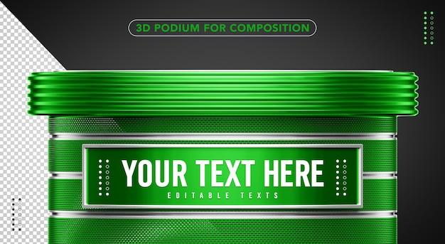 Podium vert 3d insérez votre texte ici
