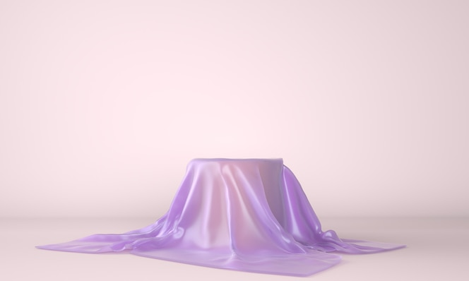 Podium vide recouvert de tissu lilas en illustration 3d