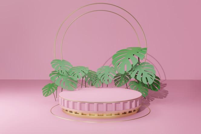 Podium vide de rendu 3d avec des feuilles tropicales