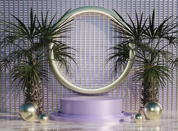 Podium violet abstrait 3d sur des tuiles d'eau avec des arbres pour la présentation du produit en arrière-plan et edita
