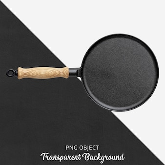 Poêle en fonte transparente avec manche en bois