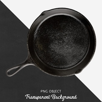 Poêle ronde noire sur fond transparent