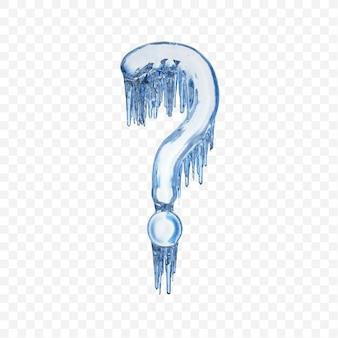 Point d'interrogation d'alphabet fait de glace fondante bleue d'isolement sur le fond transparent