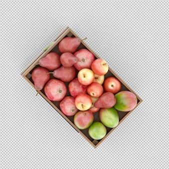 Poires pommes mangue rendu 3d
