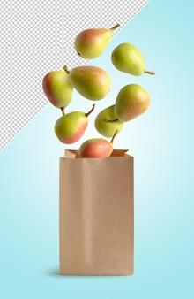 Poires volantes dans un sac en papier recyclable, isolé avec un tracé de détourage
