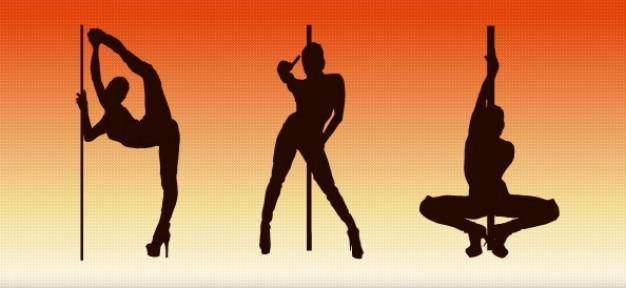 Pole dancer silhouettes mis en