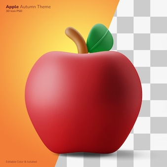 Pomme automne fruit 3d illustration rendu 3d icône modifiable isolé