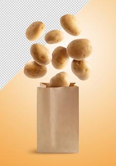 Pommes de terre volantes dans un sac en papier recyclable, isolé avec un tracé de détourage