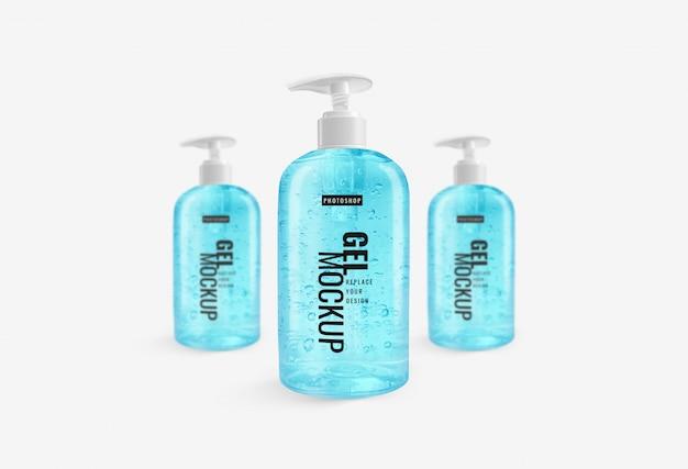 Pompe à bouteille gel d'alcool désinfectant pour les mains publicité maquette