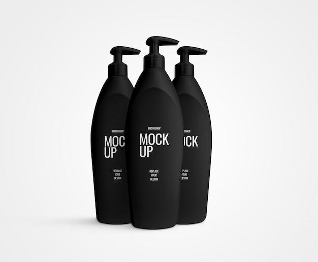 Pompe à crème maquette de bouteille noire réaliste