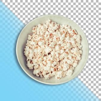 Pop corn dans un bol sur fond transparent.