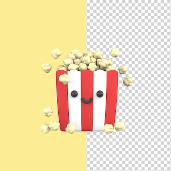 Pop-corn heureux mignon personnage souriant dans une boîte rayée rouge et blanche modèle de rendu 3d