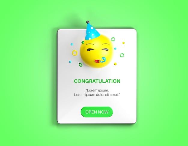 Popup de notification avec maquette d'emoji de fête isolée