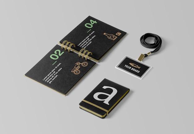 Porte-carte d'identité et maquettes de cahier