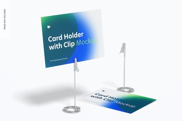 Porte-cartes avec maquette de pince crocodile, perspective