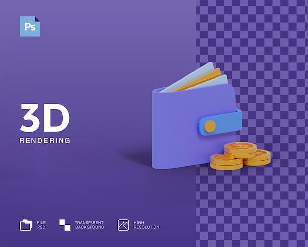 Portefeuille 3d avec icône argent