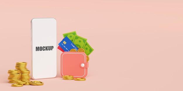 Portefeuille d'argent sur l'application mobile de paiement et de transfert d'argent en ligne 3d