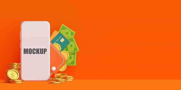 Portefeuille d'argent sur le paiement de l'argent de l'application mobile avec maquette de téléphone