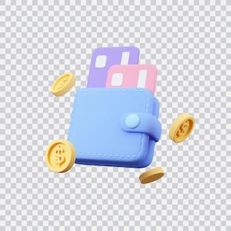 Portefeuille avec cartes de crédit et pièces d'un dollar rendu 3d illustration